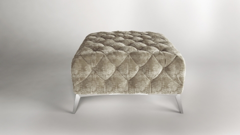 "Modell "" CHESTERFIELD ROYAL"" HOCKER  (80 x 80 cm) IN STOFF SAMT PREMIUM"