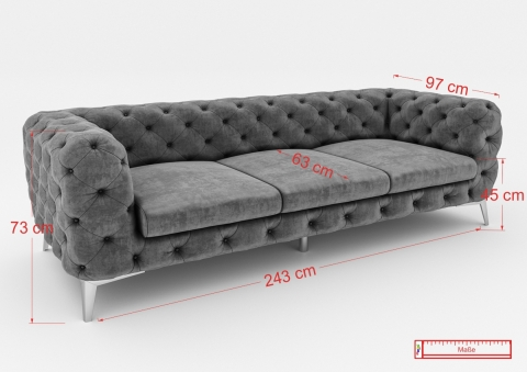 "Modell ""CHESTERFIELD ROYAL"" 3-SITZER SOFA IN STOFF SAMT PREMIUM"