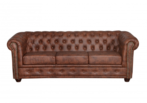 "MODELL:  "" CHESTERFIELD CLASSIC ""  3 - SITZER SOFA IN  INDUSTRIAL STYLE LEDER LOOK PREMIUM *)"
