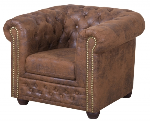 "MODELL:  "" CHESTERFIELD "" SESSEL IN VINTAGE WILDLEDER LOOK PREMIUM"