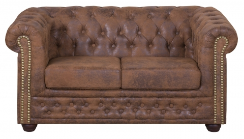"MODELL:  "" CHESTERFIELD "" 2 - SITZER SOFA IN VINTAGE WILDLEDER LOOK PREMIUM"