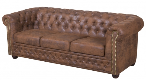 "MODELL:  "" CHESTERFIELD "" 3 - SITZER SOFA IN VINTAGE WILDLEDER LOOK PREMIUM"