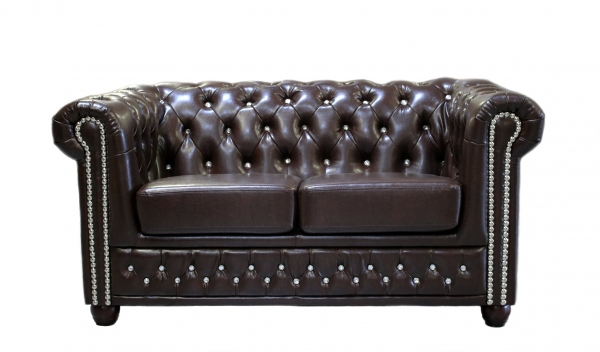 "MODELL:  "" CHESTERFIELD ""  2 - SITZER SOFA IN  LEDER LOOK  PREMIUM"