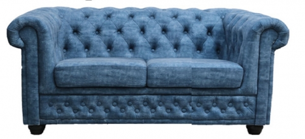 "MODELL:  "" CHESTERFIELD ""  2 - SITZER SOFA IN  BLUE JEANS LOOK"
