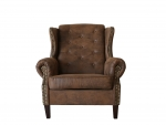 "CHESTERFIELD ""BEDFORD"" SESSEL & HOCKER IN VINTAGE WILDLEDER LOOK PREMIUM"