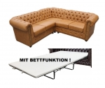 "Modell "" CHESTERFIELD 1 + 2 + 3 + (E) + 3 + 2 + 1 + BETT"" MODULARES ECKSOFA MIT/OHNE BETTFUNKTION IN LEDER LOOK PREMIUM"